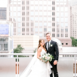 Charlotte skyline made the perfect backdrop for Kieran Claire Photography during a spring wedding at Foudnation for the Carolinas