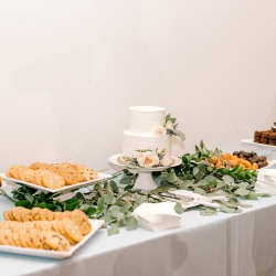 A fun dessert station provided many sweet treats for guests of a spring wedding captured by Kieran Claire Photography