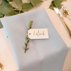 Rosemary sprigs made for the perfect placecards for a spring wedding at Foundation for the Carolinas