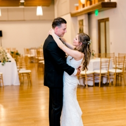 Bride and groom share a private last dance to music provided Split Second Sound for a spring wedding coordinated by Magnificent Moments Weddings
