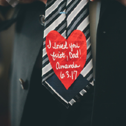 heart on tie for father of the bride