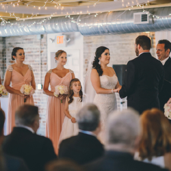 Wedding ceremony at the Bottle Factory in Monroe, North Carolina