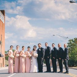 Wedding Party portraits in downtown Monroe, NC