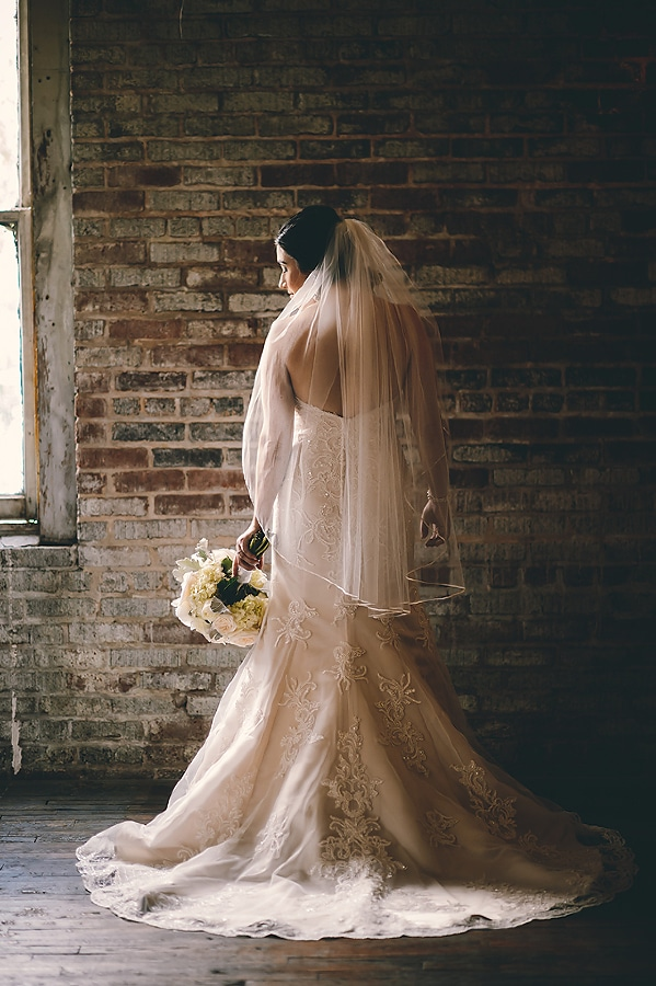 bridal portrait at the Bottle Factory