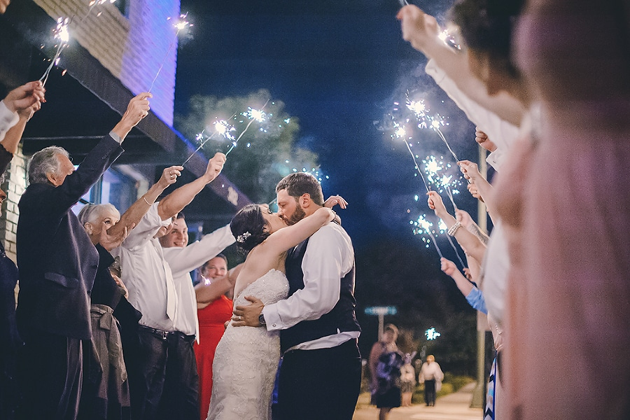 bride and groom sparkler exit at the Bottle Factory