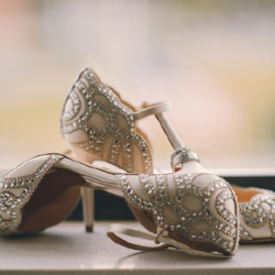 Badgley Mischka wedding shoes from Nordstrom with wedding rings from Diamonds Direct