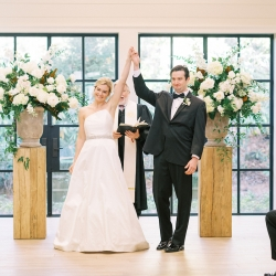 Bride shows her excitement after becoming a wife during her wedding ceremony captured by Krystal Kast Photography