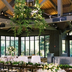 Floressence draped a stunning chandelier with greenery accents created the perfect romantic vibe for a fall wedding at Old Edwards Inn
