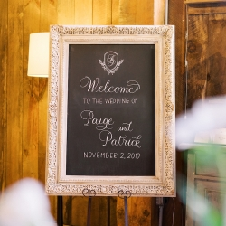 Sweet welcome sign invites guests into a fun fall wedding at Old Edwards Inn