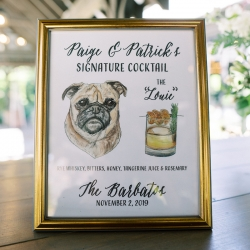 A fun signature cocktail is named for the couples dog during their wedding planned by Magnificent Moments Weddings