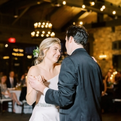 Krystal Kast Photography captures a sweet first dance between a bride and groom during their wedding reception at Old Edwards Inn