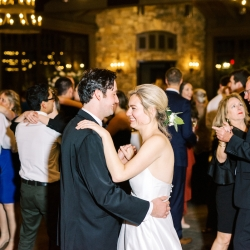Bride and groom share a sweet dance to music provided by DJ Lucas London during their fall wedding in Highlands, NC