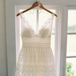 Maggie Colleta Photography captures a detail shot of a brides dress for her wedding at Morning Glory Farm
