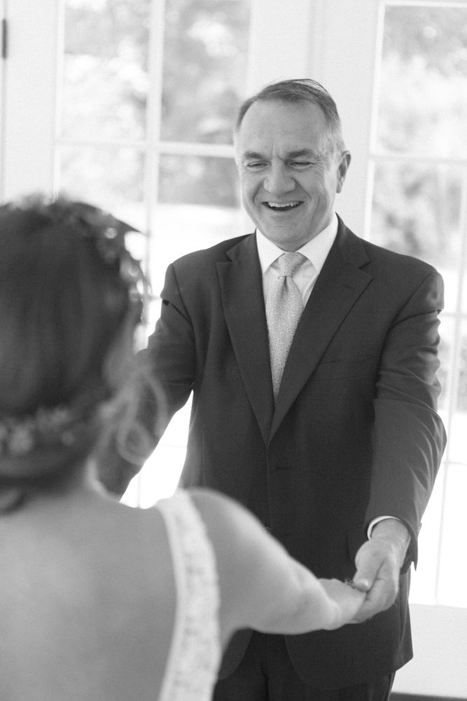 Bride shares a sweet moment with her father during their fist look at Morning Glory Farms captured by Maggie Colleta Photography