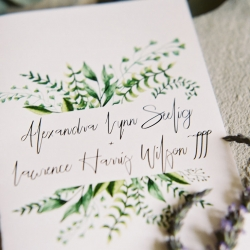 Custom invitation features greenery accent that match so many details of a fall wedding at Morning Glory Farm