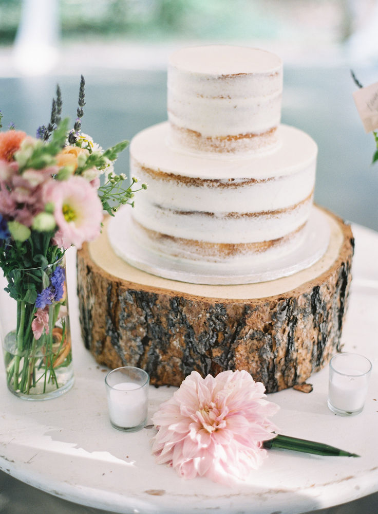 Simple two tier naked cake from Publix Bakery sits a top a rustic tree stump and accented by color blooms from Jimmy Blooms