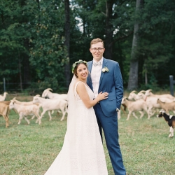 Bride and groom pose among the goats of Morning Glory Farm during their fall wedding captured by Maggie Colleta Photography