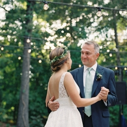 Maggie Colleta Photography captures a father daughter dance at a wedding reception at Morning Glory Farm
