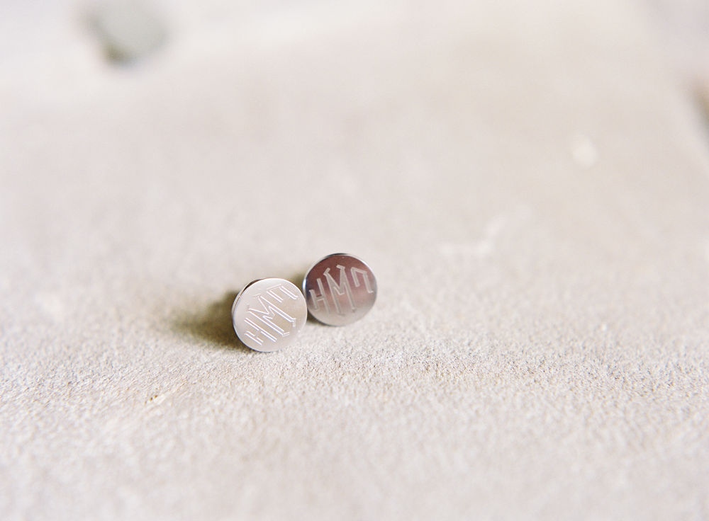 Monogrammed cuff links for the groom captured by Maggie Colleta Photography