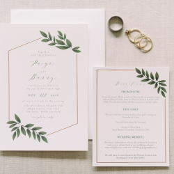 Custom invitation by Minted feature gold lines and green accents captured by Maggie Mills Photography