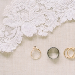 Maggie Mills Photography captures a detail shot of bridal jewelry for an intimate wedding on Lake Tillery