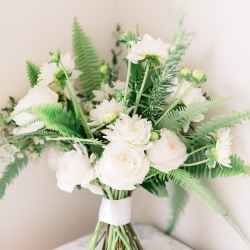 Bridal bouquet features ferns and white flowers designed by Narcisse Greenway Designs