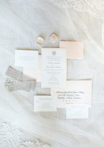 Invitation suite for a summer wedding at Providence Country Club captured by More Beatty Photography