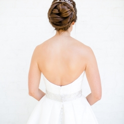 Brides stunning updo by Be Pretty was the perfect look for her summer wedding at Providence Country Club