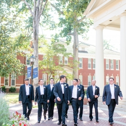 More Beatty Photography captures a groom and his groomsmen as they prepare for their wedding ceremony at Belk Chapel coordinated by Magnificent Moments Weddings