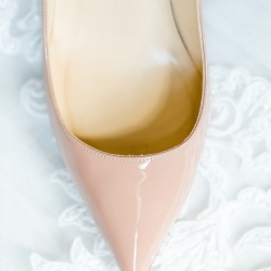 Detail shot of bridal shoes captured by More Beatty Photography for a Charlotte wedding at Providence Country Club