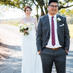 Groom waits for his bride during their first look captured by Nhieu Tang Photography