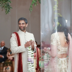 Bride and groom take part in traditional Indian wedding rituals during their summer wedding at The Westin Hotel