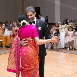 Groom shares a sweet dance with his moth to music provided by Split Second Sound during his Indian infused wedding
