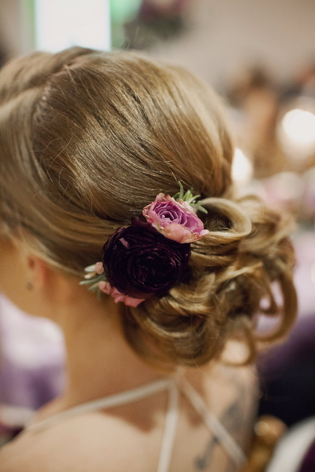 Detail shot of brides hair done by The Beauty Fairy for her Uptown Charlotte Wedding