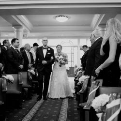 Bride is escorted down the aisle by her father to her groom all captured by Paper Heart Photography