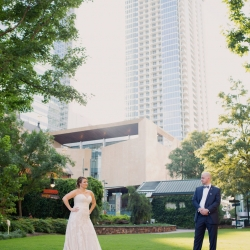 The Charlotte skyline is the perfect backdrop for a city couple on their Uptown wedding day