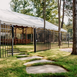 Large tent served as the reception site for a lake wedding outside Charlotte, North Carolina