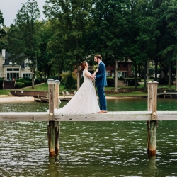Bride and groom share a first look during their fall wedding coordinated by Magnificent Moments Weddings