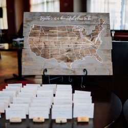Anders Ruff Workshop created a custom wooden map for a fall wedding at Vivace in Uptown Charlotte