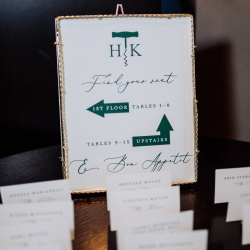 Simple white escort cards direct guests to their seats for a fall wedding coordinated by Magnificent Moments Weddings at Vivace in Uptown Charlotte