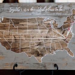 Anders Ruff Workshop created a stunning wooden map showing off the couples love story for their fall wedding coordinated by Magnificent Moments Weddings