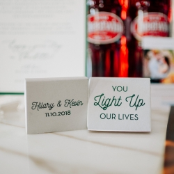 Matches make the perfect wedding favors for an Uptown wedding at Vivace in Charlotte, North Carolina