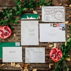 Invitation suite by Viri Lovely Designs captured by Rob and Kristen Photography for a fall wedding at Vivace in Uptown Charlotte