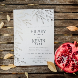 Simple wedding invitation with greenery details created by Viri Lovely Designs for a fall wedding at Vivace in Uptown Charlotte