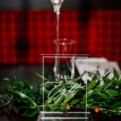 Glass table number give a modern look to a fall wedding at Vivace in Uptown Charlotte