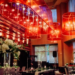 Stunning reception space at Vivace in Uptown Charlotte features elegant lighting a modern elements
