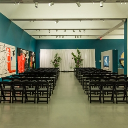 Ceremony space at The Bechtler is full of one of a kind art and is the perfect setting for a fall wedding