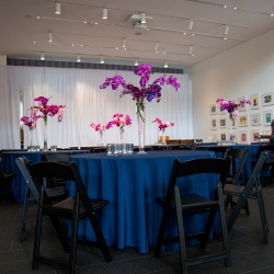 Stunning navy linens and bright pops of florals by Carolyn Shepard were perfect touches for a fall wedding in Uptown Charlotte