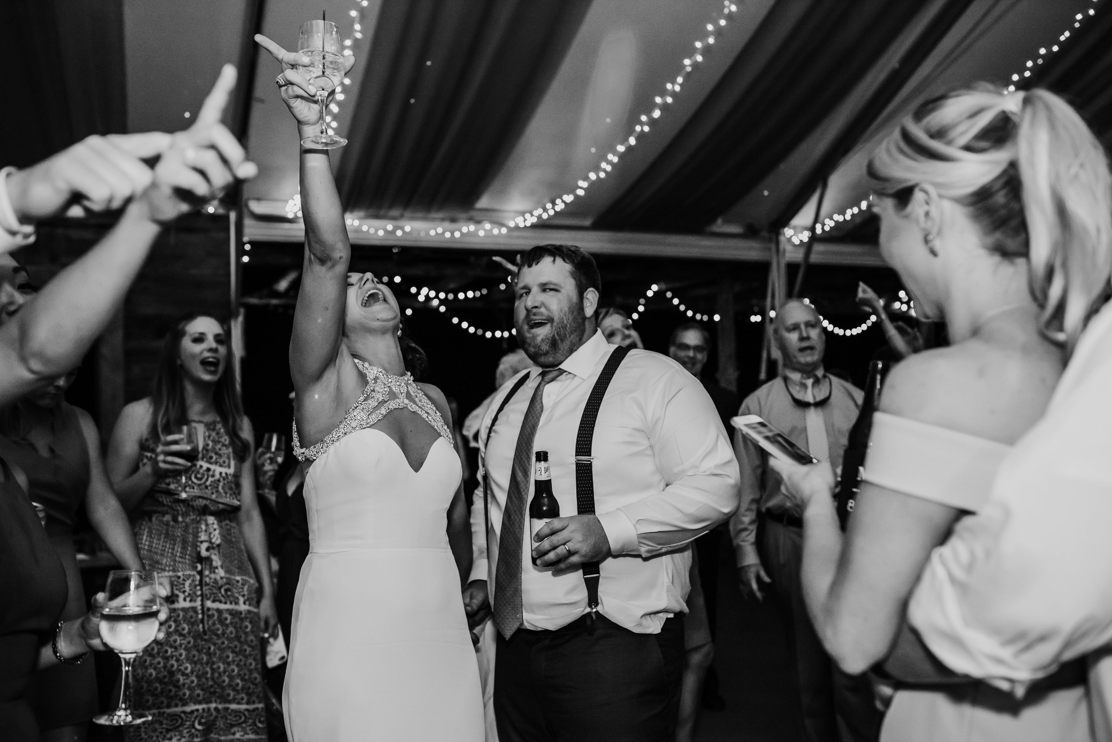 Bride and groom enjoy their reception and music provided by Southside Station