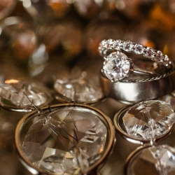 Smitten and Hook capture a stunning detail shot of bridal rings for a wedding in Uptown Charlotte